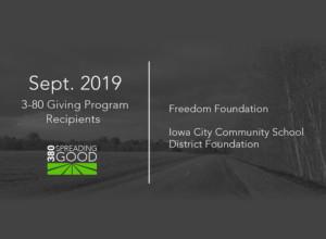September 2019 Recipients of 380 Giving Program